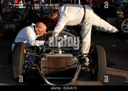 1959 Lotus-Climax 16 having last minute adjustments made in the paddock / Goodwood Revival / Goodwood / UK - Stock Photo