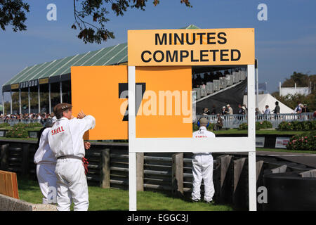 The time elapsed during races of a set duration is indicated just after the finishing line / Goodwood Revival / - Stock Photo
