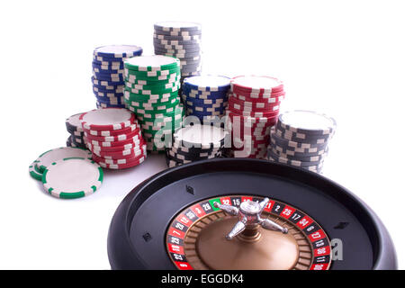 Roulette with chips isolated on white - Stock Photo
