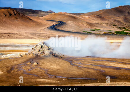 Steam vents in Hverir - geothermal field in Northern Iceland - Stock Photo
