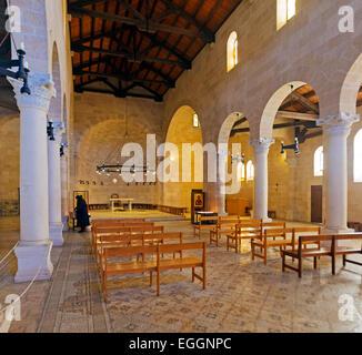 Famous Mosaic Floor in Church of Multiplication, Tabgha, Israel - Stock Photo