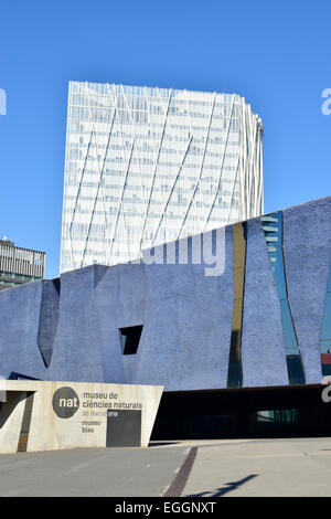 Museu Blau and Telefonica building. Barcelona, Catalonia, Spain. - Stock Photo
