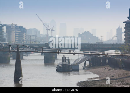 Thames River seen from Blackfriars Bridge in May, London, England - Stock Photo
