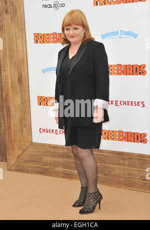 LOS ANGELES, CA - OCTOBER 13, 2013: Downton Abbey star Lesley Nicol at the world premiere of her movie 'Free Birds' - Stock Photo