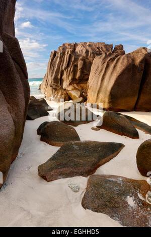 Seychelles island, La Digue. Rocks on the beach - Stock Photo