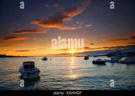 Sunset landscape, Novalja, Croatia - Stock Photo