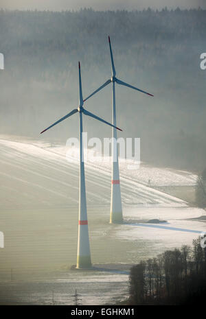 Wind power plants, Bad Wünnenberg, Sauerland, North Rhine-Westphalia, Germany - Stock Photo