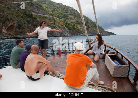 boat, tyrrhenian sea, maratea, basilicata, italy, europe - Stock Photo