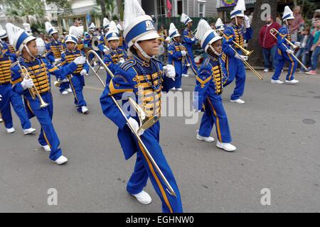 Children's Marching Band, Parade, Mardi Gras, New Orleans, Louisiana, USA - Stock Photo