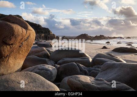 Rocks and boulders on Cornish beach, 'Porth Nanven', Cornwall, England, UK - Stock Photo