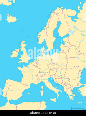 Europe Political Map and the surrounding region. Countries with national borders, big rivers and lakes. English - Stock Photo