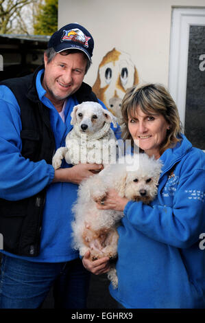 Owners of the Many Tears Animal Rescue centre near Llanelli, S. Wales UK, Sylvia and Bill Van Atta with some of - Stock Photo
