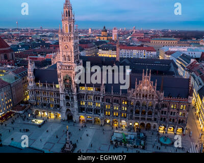 View from St. Peter (Alter Peter) on Marianplatz with New Townhall, Munich, bavaria, Germany - Stock Photo