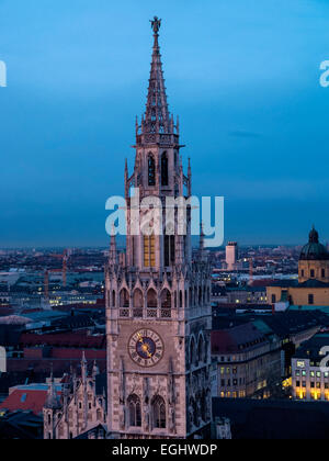View from St. Peter (Alter Peter) on New Townhall, Munich, bavaria, Germany - Stock Photo