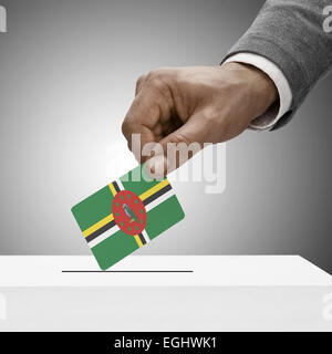 Black male holding flag. Voting concept - Dominica - Stock Photo