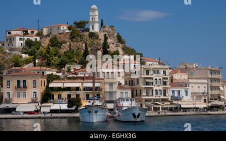 Quayside on Island of Poros, Argolida, Peloponnese, Greece - Stock Photo