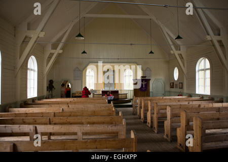 South Georgia, Grytviken, old Norwegian whaler's church interior - Stock Photo