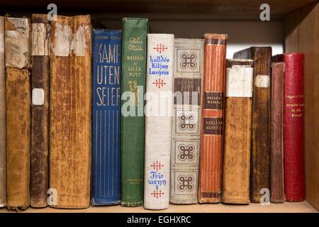 South Georgia, Grytviken, old Norwegian whaler's church library, books on shelves - Stock Photo