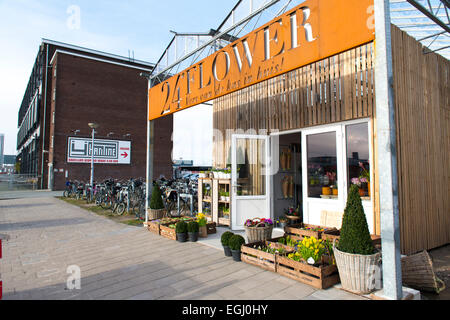 Flower shop at NDSM wharf, North Amsterdam's 'happening' hipster area of rejuvenated docklands Amsterdam-Noord - Stock Photo