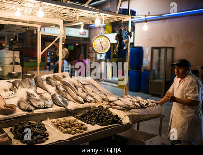 Seafood for sale at the Mercado Central, Santiago, Chile - Stock Photo