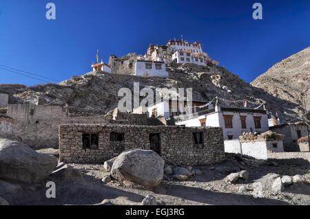 Close-up view of Chemrey monastery built on rocks, Ladakh - Stock Photo