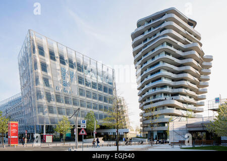 Unilever-Haus office building and residential Marco Polo Tower, Behnisch and Partner, Quartier Strandkai, HafenCity, - Stock Photo