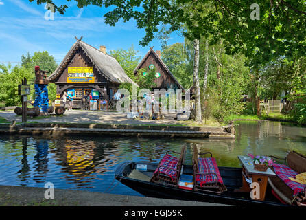 Europe, Germany, Brandenburg, Spreewald, Lehde, open-air museum at water channel, wooden boat, - Stock Photo