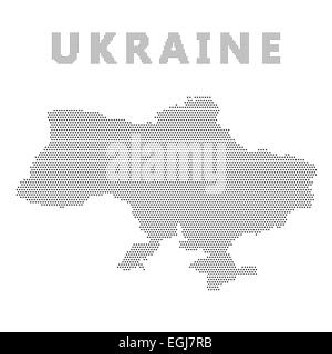 Ukraine map with gray dot.  Isolated on white background. - Stock Photo
