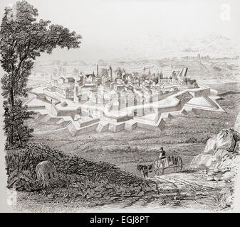 General appearance of a bastioned fortress aka Star Fort. - Stock Photo