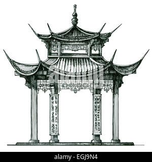 Chinese Architecture Asia Temple On A White Background Japan China Korea Sketch