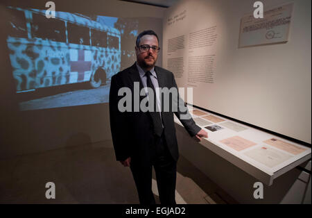 Prague, Czech Republic. 25th Feb, 2015. Czech documentary film-maker Martin Smok meets media during the opening - Stock Photo
