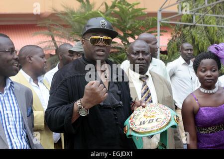 Kampala, Uganda. 25th Feb., 2015. Former World Boxing Council (WBC) light middleweight champion John 'The Beat' - Stock Photo