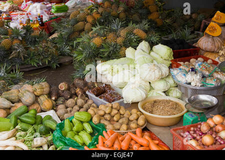Vegetable stall at the market in Cai Be, Mekong Delta, Vietnam, Southeast Asia - Stock Photo