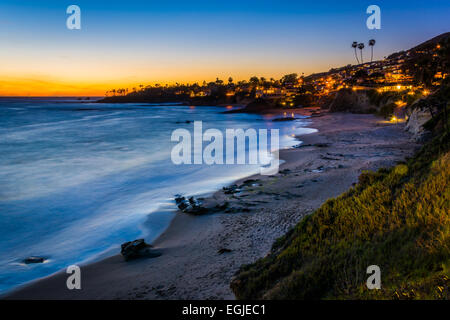 After-sunset view from cliffs at Heisler Park, in Laguna Beach, California. - Stock Photo