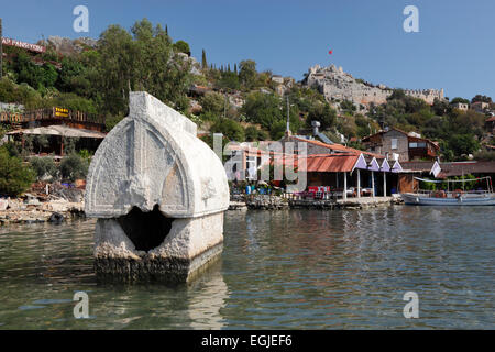 Lycian sarcophagus and castle, Simena (Kalekoy), near Kas, Lycia, Antalya Province, Mediterranean Coast, Southwest - Stock Photo