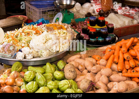 Selling vegetables at a market in at Toi on the island of Phu Quoc, Vietnam, Southeast Asia - Stock Photo