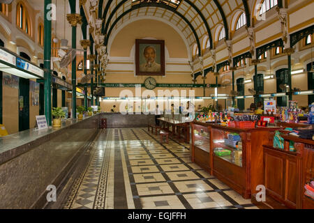 Main hall in the old General Post Office Saigon, Ho Chi Minh city, Vietnam, Asia - Stock Photo