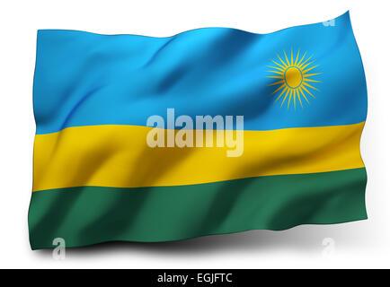 Waving flag of Rwanda isolated on white background - Stock Photo