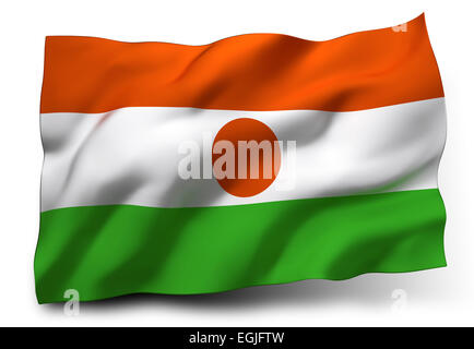 Waving flag of Niger isolated on white background - Stock Photo