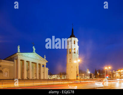 Europe, Baltic states, Lithuania, Vilnius, St. Stanislaus Cathedral and Varpine bell tower in Cathedral Square - Stock Photo