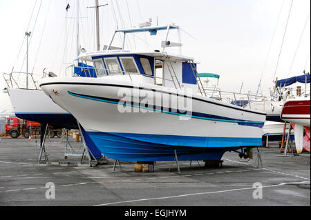 Yacht in dry dock Margate Kent - Stock Photo
