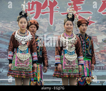 Dong ethnic attire, Zhaoxing Dong village, Guizhou Province, China - Stock Photo