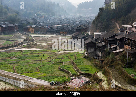 Dong village with vegetable and rice fields, Zhaoxing Dong village, Guizhou Province, China - Stock Photo