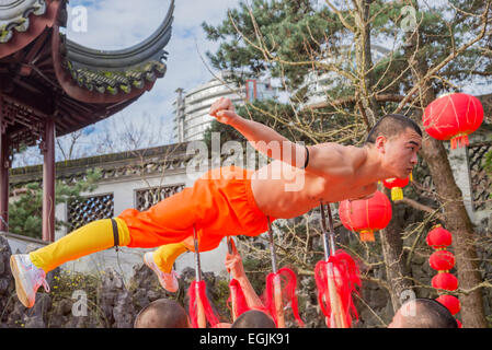 Expert Kung fu performance by Shaolin monks, Dr. Sun Yat Sen Classical Chinese Garden, Vancouver, British Columbia, - Stock Photo