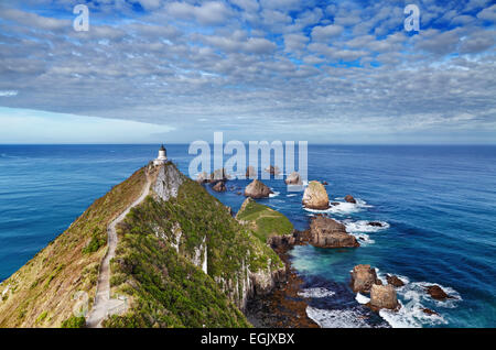 Nugget Point Lighthouse, South Island,  New Zealand - Stock Photo