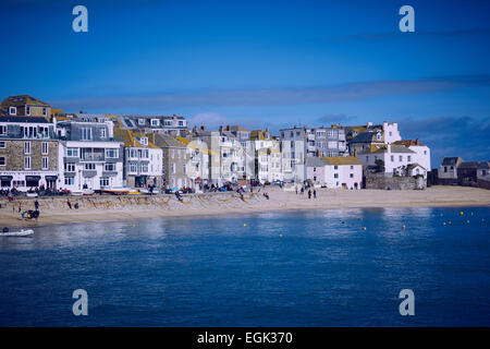 Town and harbour beach St Ives Cornwall England Europe - Stock Photo