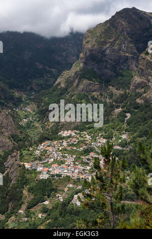 View from Eira do Serrado on Curral das Freiras, Madeira, Portugal - Stock Photo