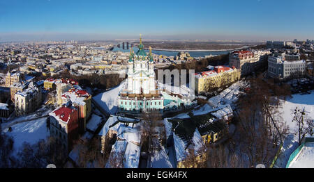 aerial view of Podol and St. Andrew's church in Kiev, Ukraine - Stock Photo