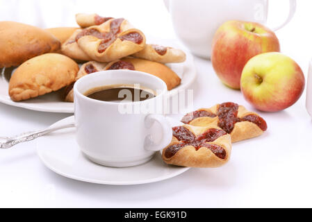 Still life with coffee, cookies and apples - Stock Photo