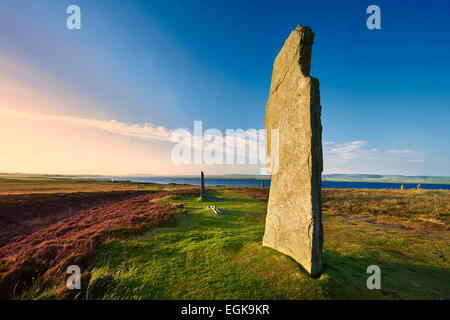 The Ring of Brodgar, 2,500 to circa 2,000 BC, a Neolithic stone circle or henge a UNESCO World Heritage Site, Orkney, - Stock Photo